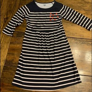 Old Navy Girls Blue/White Striped Heart Dress (L)